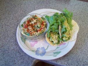 Vegan tu-no salad in corn tortillas